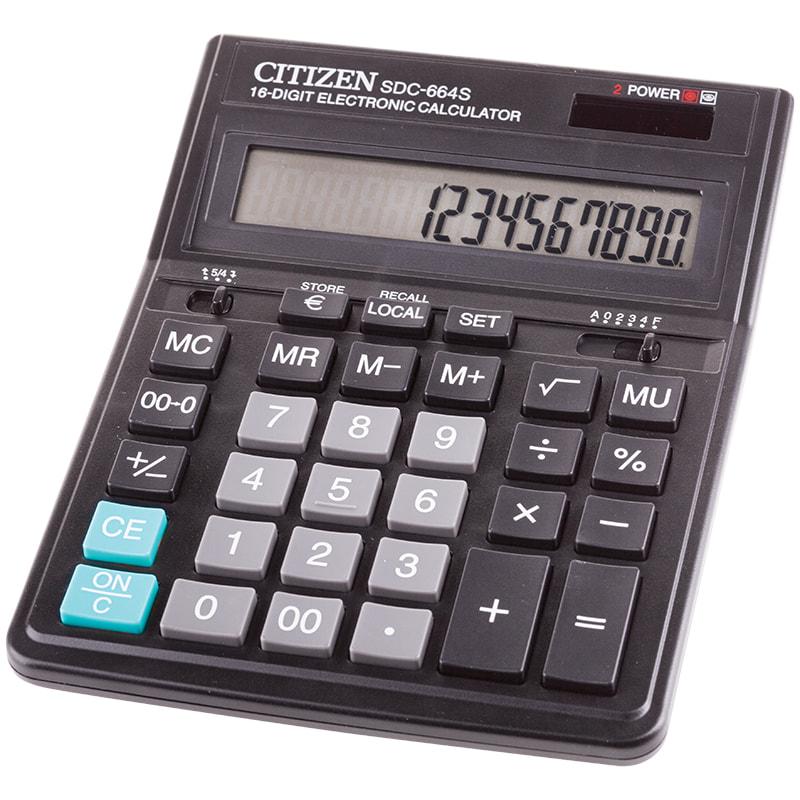 Калькулятор настольный Citizen SDC-664S 16-разрядный 199x153x31мм, черный